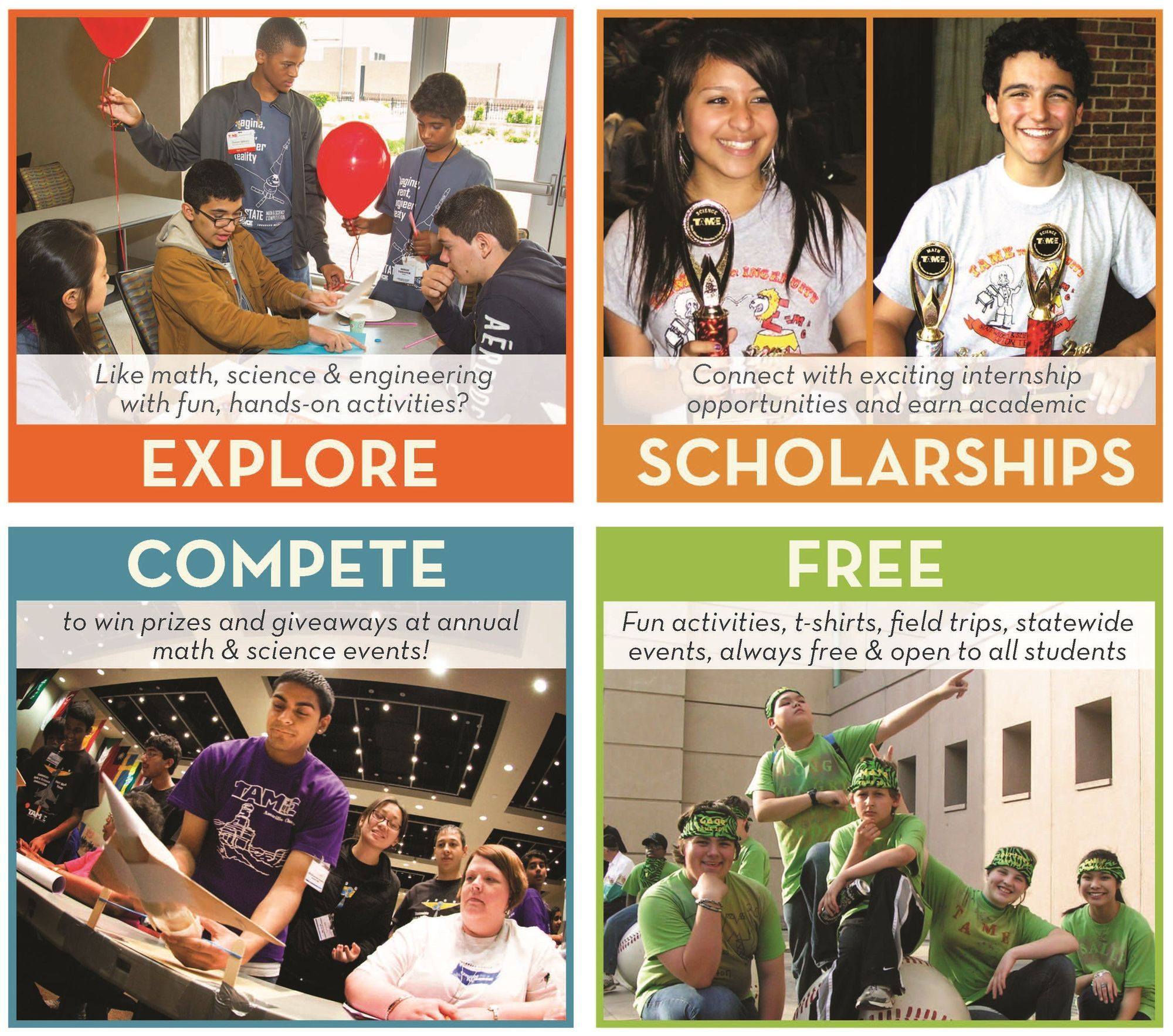 Registration now open! TAME Clubs let students explore, win scholarships, compete in math, science, and engineering--and are totally free!