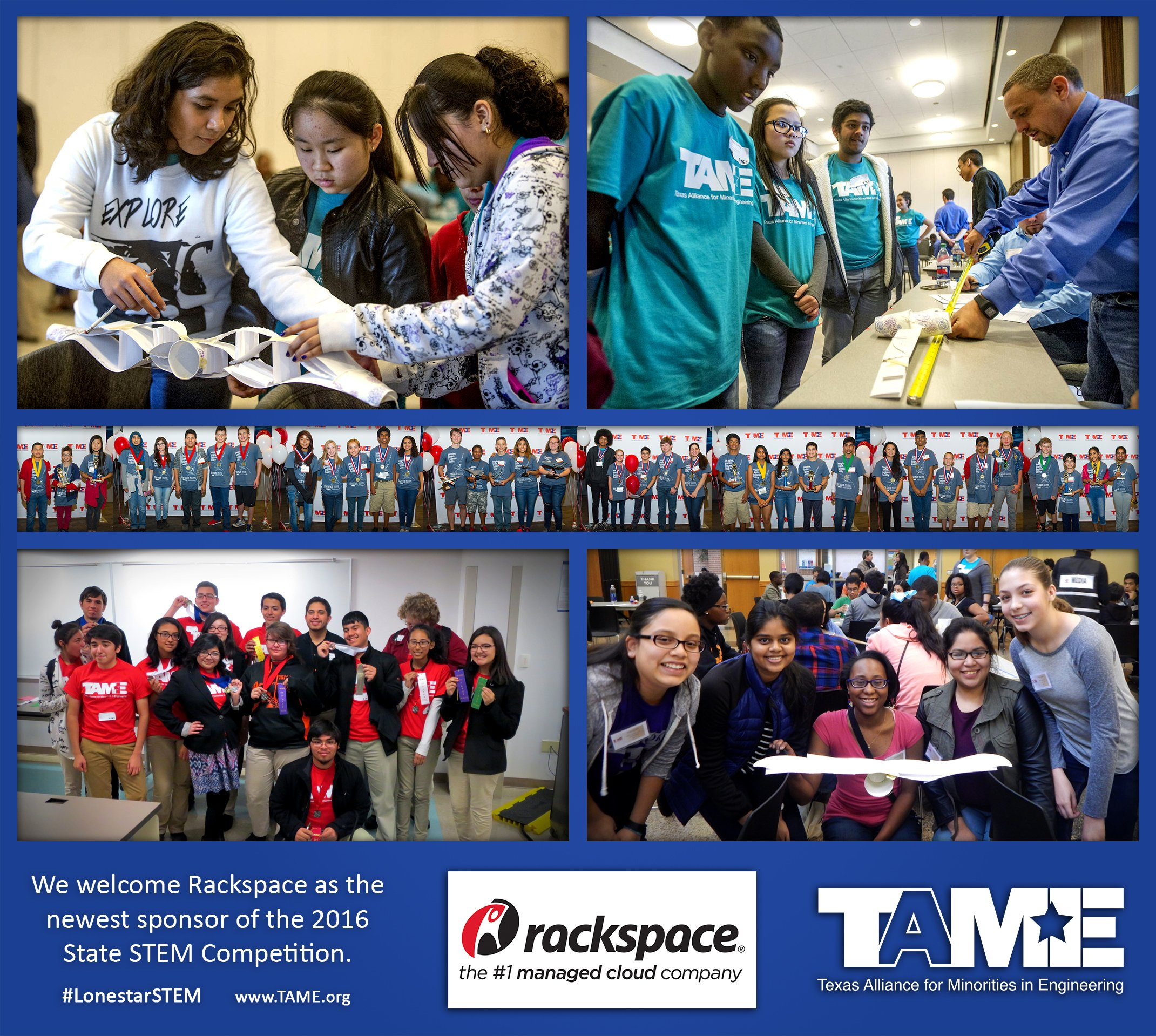 TAME Welcomes Rackspace as the newest sponsor of the 2016 State STEM Competition.