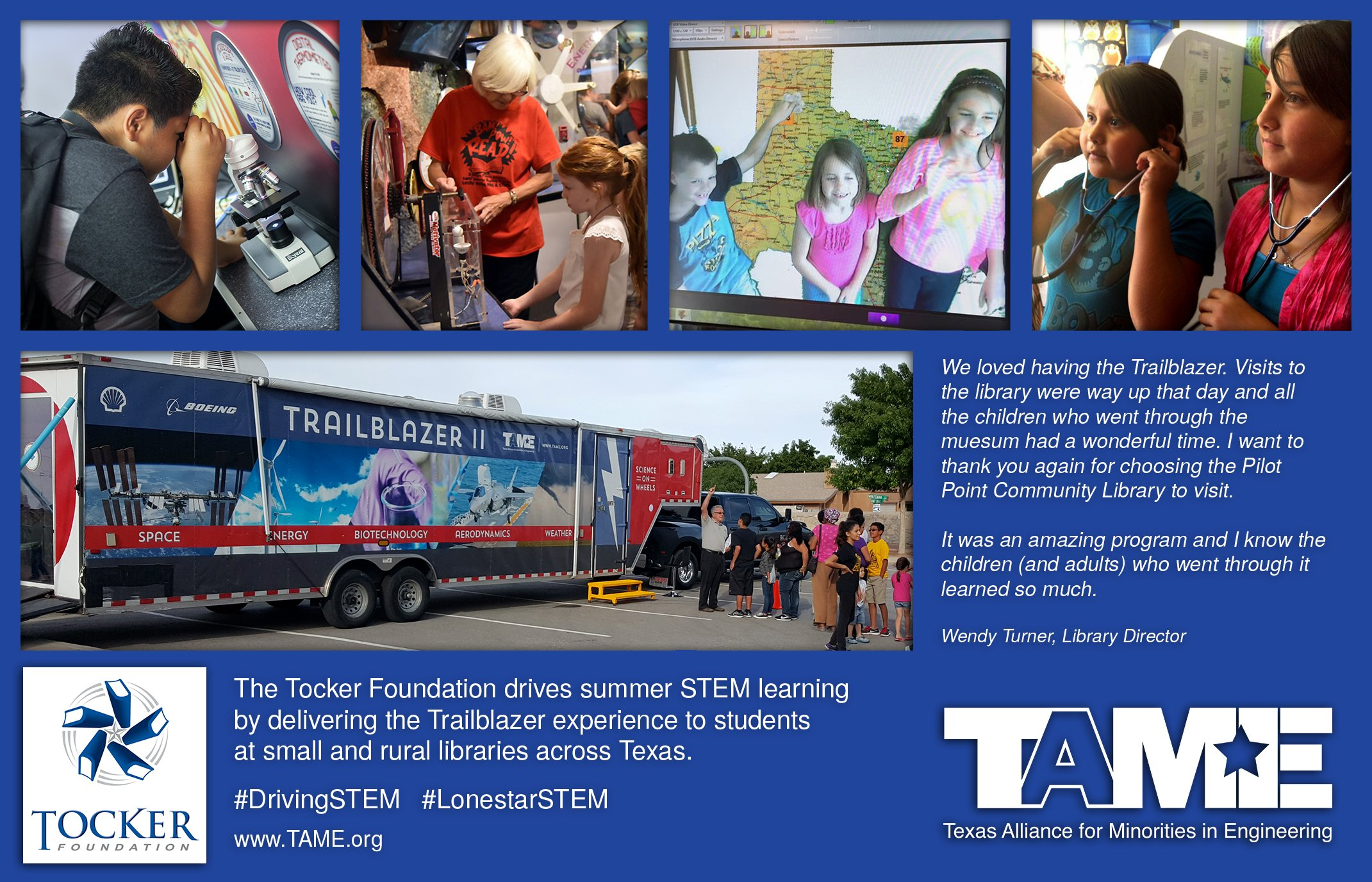 The Tocker foundation drives summer STEM learning by delivering the Trailblazer experience to students at small and rural libraries across Texas.