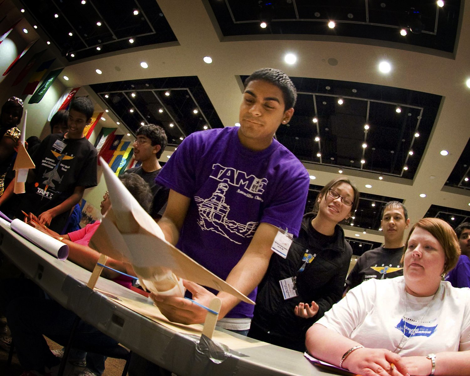 Students compete in the Engineering Design Challenge at the State Math and Science Competition at Lockheed Martin Aeronautics in 2009.