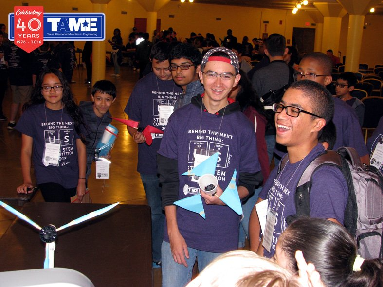 Students competing in the Engineering Design Challenge at the State STEM Competition in 2017.